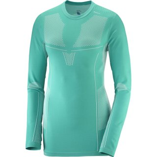 Salomon Primo Warm Tee Langarm Shirt - Damen - Waterfall