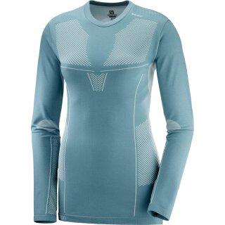 Salomon Primo Warm Seamless Tee Langarm Shirt - Damen - Smoke Blue