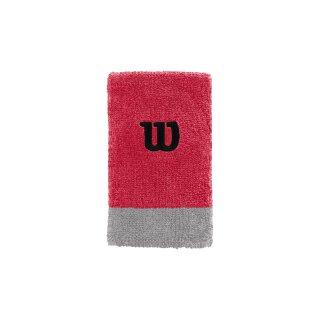 Wilson Extra Wide Schweißband Armband - Unisex - Rot Grau