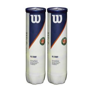 Wilson Roland Garros All Court Tennis Balls - Double Pack - 4 Ball 2 Pack