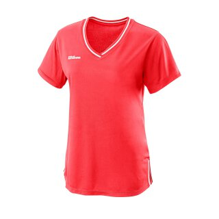 Wilson Womens Team II V-Neck Shirt - Fiery Coral
