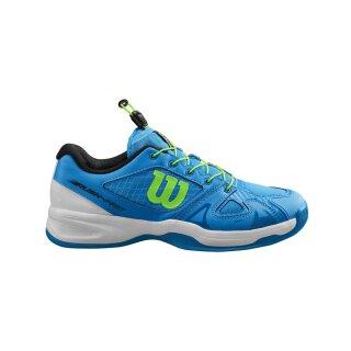 Wilson Rush Pro Junior QL Carpet - Tennis Shoes - Brilliant Blue/White/Green Gecko