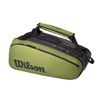 Wilson Super Tour 3 Compartment Tennistasche 15 Rackets - Schwarz Grün