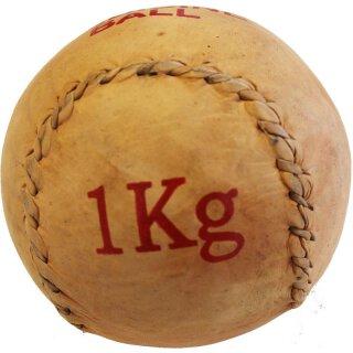 Medizinball Leder Gewicht 1Kg - Braun