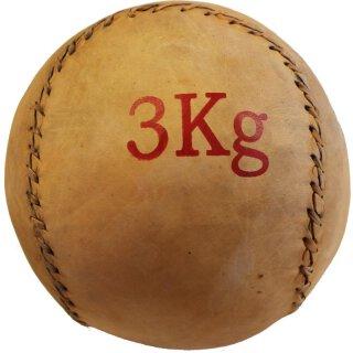 Medizinball Leder Gewicht 3Kg - Braun